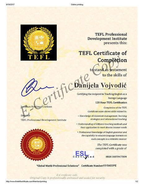 Danijela Vojvodić | ESL Jobs Lounge | Teach English Jobs Abroad ...
